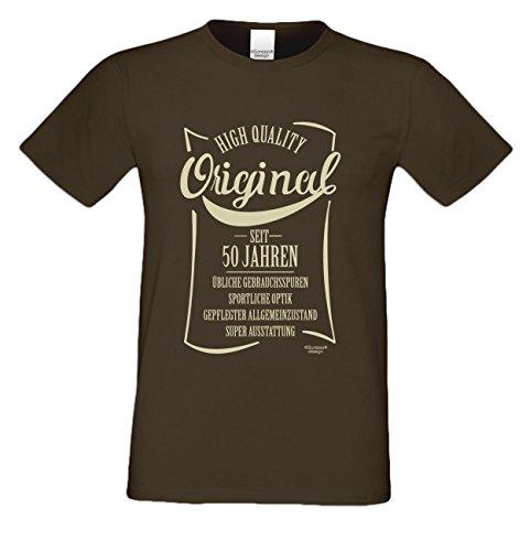 Niveuvolles Designer Sprüche-Shirt als Top Geschenke-Idee für alle Menschen mit Stil Motiv: Original seit 50 Jahren Farbe: braun Braun
