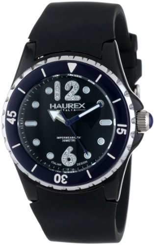 Haurex Italy Mujer PN379DNB Beauty Black Dial Rotating Blue Bezel Crystal Reloj