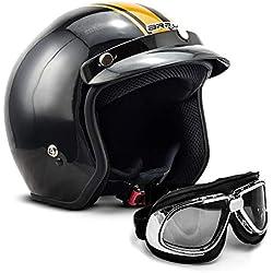 "Armor · AV-47 Set ""Black"" (black) · Casco moto Demi Jet · Urban Helmet Urbano motocicleta Scooter Retro · L (59-60cm)"