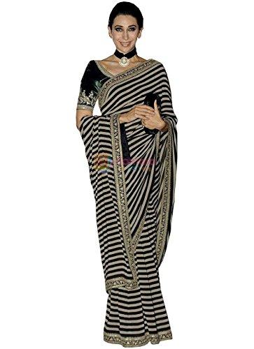 Karishma Kapoor Black & White Georgette Replica Saree  available at amazon for Rs.1300