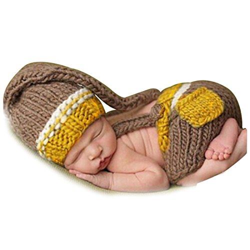 YiZYiF Gentleman Baby Kostüm Fotografie Prop Set Outfits Süss Hose mit Crochet häkeln Strickmütze Hut Cap, Braun, 0-3 (Kostüme Häkeln Halloween Für Babys)