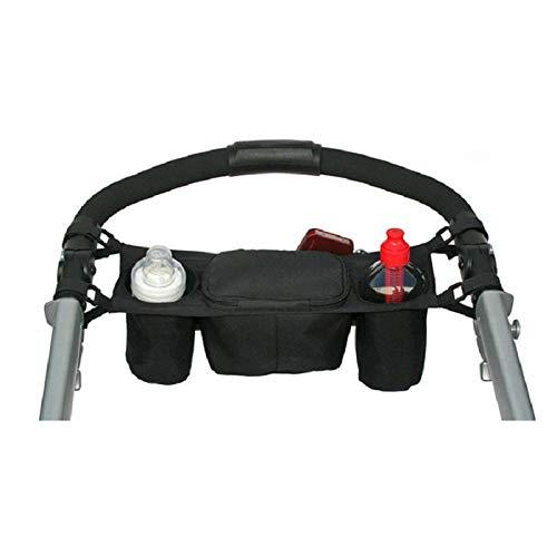 Westeng Kinderwagen-Organizer, schwarze Hängetasche mit Haltefächern für Babys kleine Dinge, Tasse, Baby-Windeln