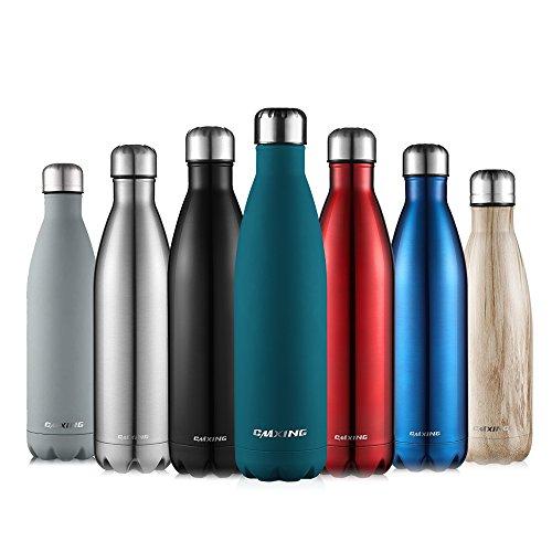Cmxing Doppelwandige Thermosflasche 500 mL / 750 mL mit Tasche BPA-Frei Edelstahl Trinkflasche Vakuum Isolierflasche (See blau, 750 mL) -