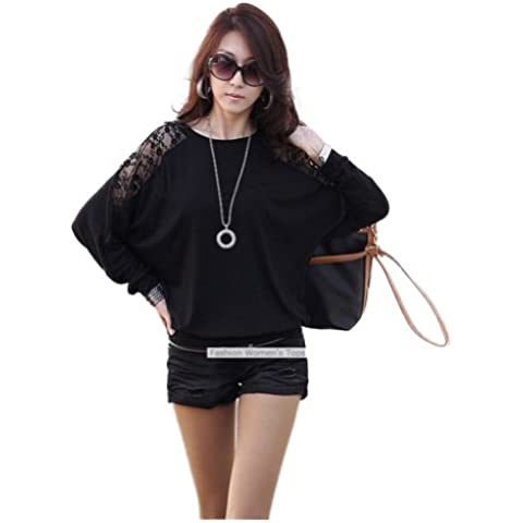 Nueva moda 2013de la mujer manga Dolman encaje suelto manga larga camiseta blusa para mujeres (color: blanco), negro,
