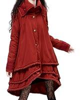 Artka Women's Burgundy Multilayer Swing Hem Stand Lapel Quilted Coat