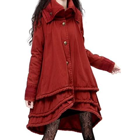 Artka Women's Burgundy Multilayer Swing Hem Quilted Coat,Burgundy Red,L