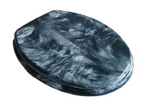 Abattant de siège toilette en marbre noir, articulations en acier inoxydable