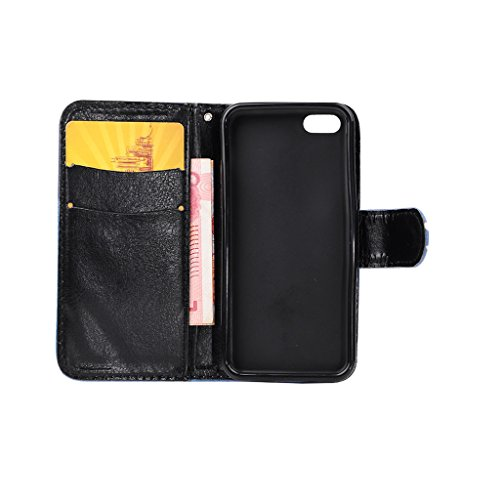 5S Coque, iPhone 5G Coque, Lifeturt [ Pissenlit ] Coque Dragonne Portefeuille PU Cuir Etui en Cuir Folio Housse, Leather Case Wallet Flip Protective Cover Protector, Etui de Protection PU Cuir Portefe E02-Je t'aime à la folie108733