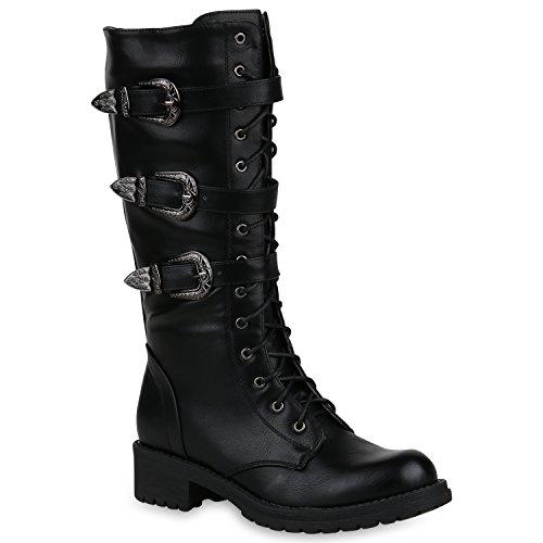 Stiefelparadies Damen Schuhe Schnürstiefel Biker Boots Schnallen Metallic Stiefel 148339 Schwarz 37...