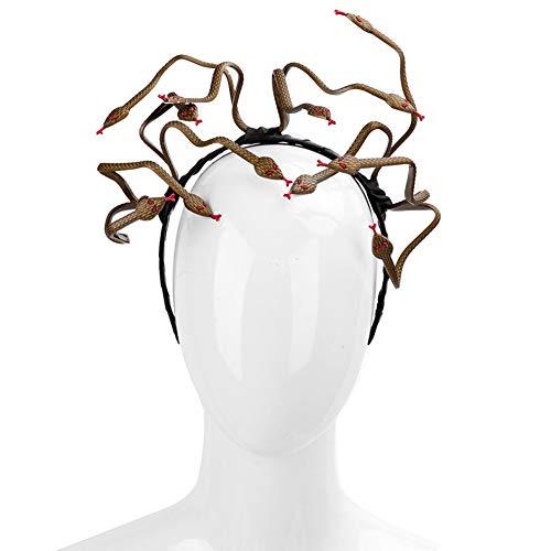 Kopfschmuck Kostüm Medusa - OOCO Halloween Maske Kopfschmuck, Medusa Kostüm Stirnband, Burning Man Cosplay Kostüm Haarspange Zubehör PVC Angst Tier
