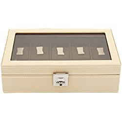 friedrich|23 Unisex Watch Box For 10 Watches Real Leather Beige 26215 Size 8