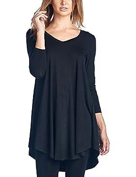 Mujeres Blusa Camiseta Mangas Largas V-Cuello Loose Tops