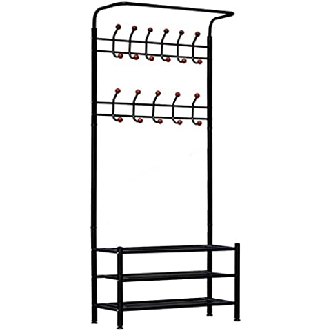Dazone® Moderno Appendiabiti Portaombrelli in metallo nero angolo Hall Albero stand Rack con scarpiera e 12ganci