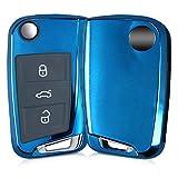 kwmobile VW Golf 7 MK7 Autoschlüssel Hülle - TPU Schutzhülle Schlüsselhülle Cover für VW Golf 7 MK7 3-Tasten Autoschlüssel Hochglanz Blau