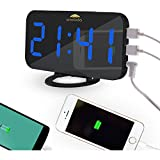 Woolala Digital Alarm Clock Mirror Display Large Numbers Dimmer LED Light with 2 USB Charge Ports for Bedroom, Besides, Office, Travel
