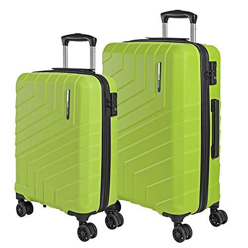 Set di Valigie Trolley da Viaggio Rigide - Bagaglio a Mano e da Stiva Ultra Leggeri in ABS con Manico in Alluminio - Chiusura TSA e 4 Ruote Doppie Girevoli - Perletti Travel (Verde Lime, S+M)