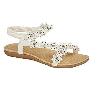 Women's Ladies Flower Sandals Beach Summer Shoes Size 3 4 5 6 7 8 Slip On (UK 6, White Daisy)