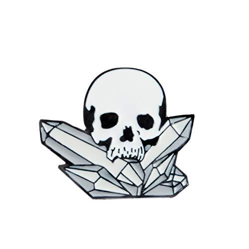 JTXZD Brosche Party White Skeleton Skull Mit Mineral Brosche Pins Hemdkragen Zubehör s Unisex