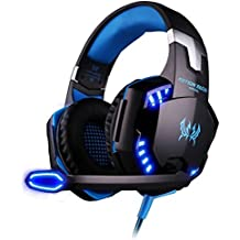 Cuffie Auricolare Gaming Gioco ArkarTech Headset G2000 con Microfono Stereo Bass LED Luce Regolatore Di Volume Per PC iPhone Smart Phone Laptop Tablet iPad iPod MP3 MP4 Mobilephones