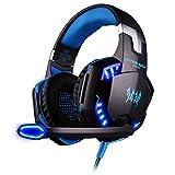 Casque Gaming Micro ArkarTech G2000 Casque Filaire PC Headset Basse Stéréo LED Lumière Contrôle du Volume pour PC Téléphones Mobiles, Bleu et Noir