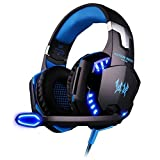 ArkarTech Headset Gaming PC Mikrofon Kopfhörer Gamer Ultra-leichtes Einstellbare Bass-Stereo Lautstärkenkontrolle LED-Licht für PC Laptop