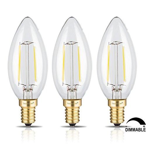 TAMAYKIM C35 2W Dimmerabile Filamento Lampadina LED Candela - 4000K Bianco Naturale 250 lumen - 2W equivalente a 25W - Attacco E14 - Siluro Forma - 360° Angolazione Fascio Luce - 3 Pezzi