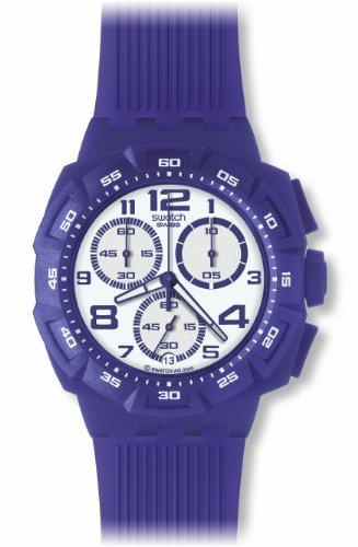Swatch SUIV400 – Reloj cronógrafo de caballero de cuarzo con correa de plástico lila