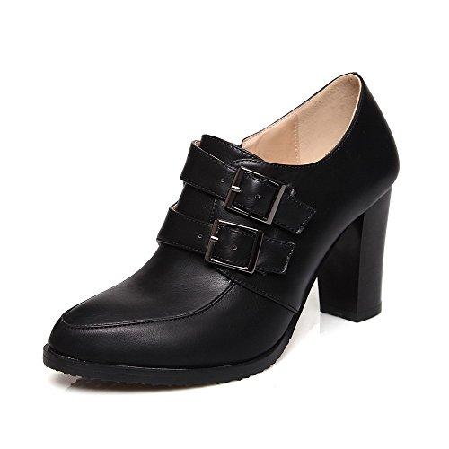 AgooLar Femme Pointu Zip PU Cuir Couleur Unie à Talon Haut Chaussures Légeres Noir