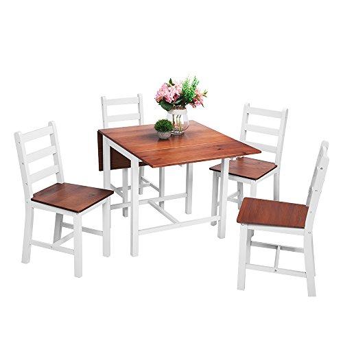 Panana Esstisch Stuhl Set Klapptisch Essgruppe Tischgurppe, Esstischgruppe Sitzgruppe Esszimmergarnitur, 119 x 75 x 73 CM , Tisch und 4 Stühle, Holz - Braun + Weiß (Kleiner Weißer Küchentisch Set)