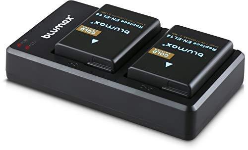 Blumax 2 x Gold Akku ersetzt Nikon EN-EL14 / EN-EL14a 1100mAh + Dual-Ladegerät | kompatibel mit Nikon D3100 D3200 D3300 D3400 D5100 D5200 D5300 D5500 Coolpix P7800 P7700 P7100 P7000