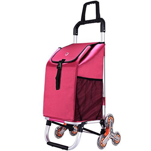 JUN-Einkaufstrolleys Leichter Treppensteigklappbarer Faltbarer Einkaufswagen Einkaufswagen | Reisekarren-Einkaufswagen 6 PU-Rad Faltbarer Stoß, ziehen Wagen Drehgriff große Kapazität 40L im Rosa