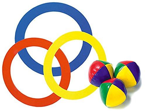 KSS Großes Jonglierset 3 x Jonglierbälle 65 gramm Durchmesser ca 6 cm + 3 x Jonglierringe 55 gramm Durchmesser ca. 24 cm in drei Farben