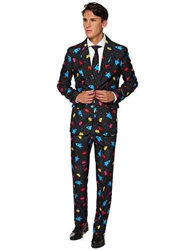 sball Kostüme für Herren - Mit Jackett, Hose und Krawatte mit Festlichen Print ()