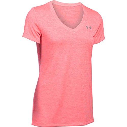 Under Armour Damen Tech Ssv-Solid Kurzarmshirt, Orange (Brilliance), L (Ultimate Tee V-neck)