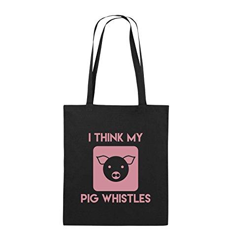 Comedy Bags - I THINK MY PIG WHISTLES - Jutebeutel - lange Henkel - 38x42cm - Farbe: Schwarz / Pink Schwarz / Rosa