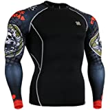 Fixgear Sports Mens Womens Compression Black Base layer Running Skull Printed T shirt S~2XL