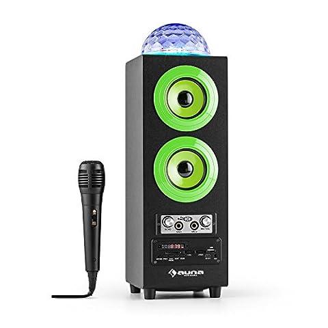auna DiscoStar Enceinte portable 2.1 bluetooth sans fil (ports USB et SD pour lecture MP3, entrées micro, effet echo pour Karaoké, batterie rechargeable, tuner radio FM, bassreflex) - vertauna DiscoStar Enceinte portable 2.1 bluetooth sans fil (ports USB et SD pour lecture MP3, entrées micro, effet echo pour Karaoké, batterie rechargeable, tuner radio FM, bassreflex) - vert