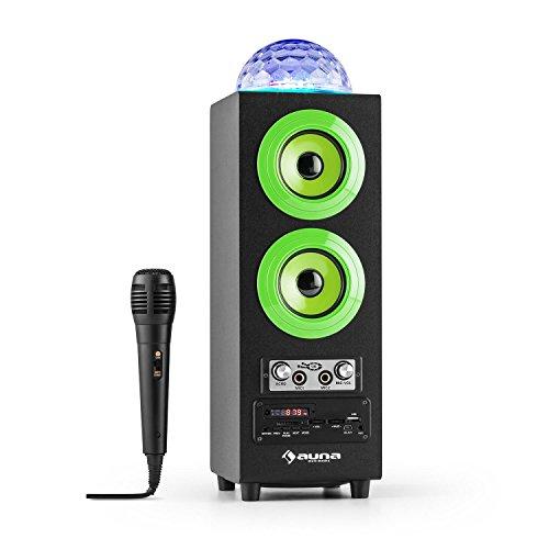 auna • DiscoStar Green • 2.1 Bluetooth-Lautsprecher • LED-Lichteffekte • Radio • UKW-Radiotuner • 30 Speicherplätze • MP3 • SD • USB • Mini-USB • AUX • Mikrofon • Lautstärkeregler • Echoregler • Fernbedienung • Tragegriffe • Akku • tragbar • grün