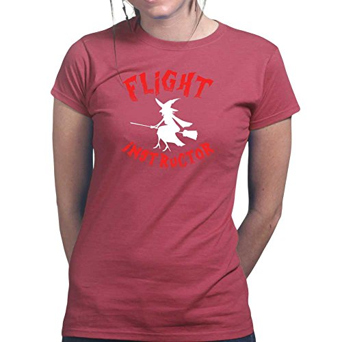 Womens Flight Instructor Halloween Witch Costume Ladies T Shirt (Tee, Top) Maroon
