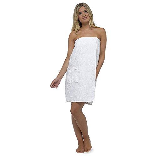 Frauen Damen Nachtwäsche Nachtwäsche Dusche Wrap mit Pocket knielang, verschiedene Farben & Größen Weiß