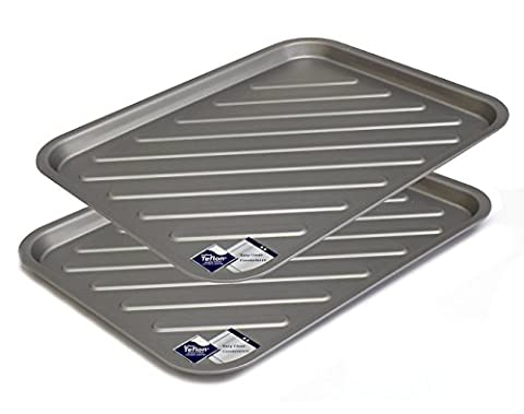 Oven Tray Twin-pack - Teflon TM Non Stick Large Crisping Trays, Reinforced Sturdy Tins by Lets Cook