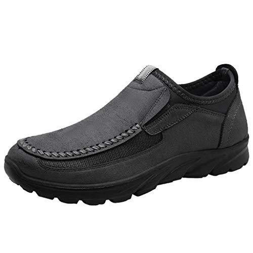 BASACA Herren Retro Boots rutschfeste Verschleißfeste Herbst Winter Lederschuhe Schuhe Stiefel Bootsschuhe Halbschuh (46 EU, Grau)