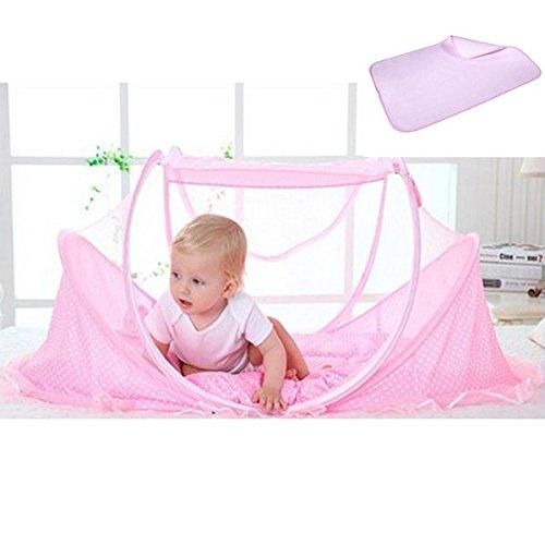 Sharplace Portable Foldable Baby Mosquito Bett Krippe Matratze Kissen Zelt + Rebe Stroh Matte - Rosa - Matratze Nachricht