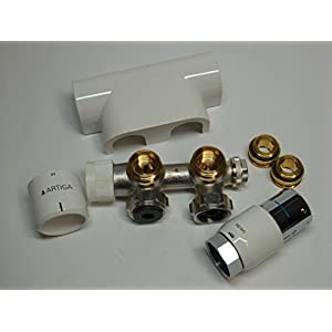 Oventrop Badheizkörper - Zubehör-Set Thermostatkopf uni SH Multiblock, Eckform, Abdeckung weiß