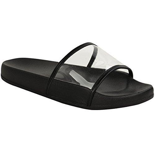 Claquettes Farrah - plage/été - plexiglas - femme Noir/plexiglas transparent/vacances