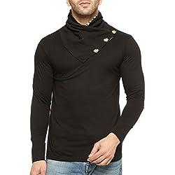 GRITSTONES Men's Solid Slim Fit T-Shirt (GSFSTSHT1318BLK_L_Black)