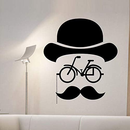 woyaofal Hipster Fahrrad Wandaufkleber Steuern Dekor Wohnzimmer Kreative Bart Mann Aufkleber Vinyl Abnehmbare Dekoration Wandbilder Y 56x65 cm