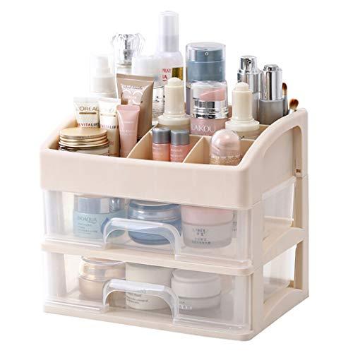 XGG Beautify Acrylique Cosmétique Organisateur Cas Table De Stockage Cadre De Support pour Maquillage - Support De Boîte De Vanity Clair avec 2 Tiroirs,A
