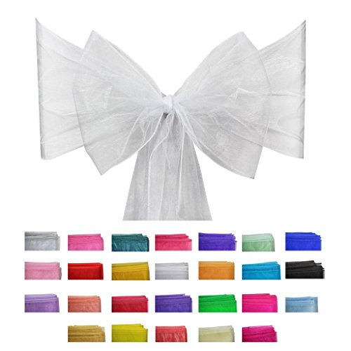 Covering All Occasions 10pcs of Organza Chair Sashes, Fuller Wider Sash, Chair Cover Bows for Wedding Party Events Birthday Décor | 26 Colours | White