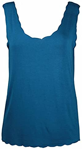 New Ladies Plain Scalloped Edge Stretch Fit Sleeveless T-Shirt Top Womens Scallop Neck Vest Tops Plus Size Teal Size 16 –